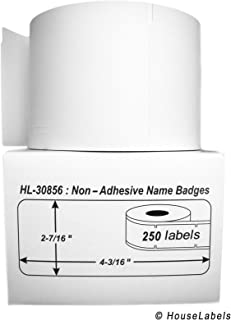 """HOUSELABELS Compatible DYMO 30856 Badge Labels (2-7/16"""" x 4-3/16"""") Compatible with Rollo, DYMO LW Printers, 50 Rolls / 250..."""