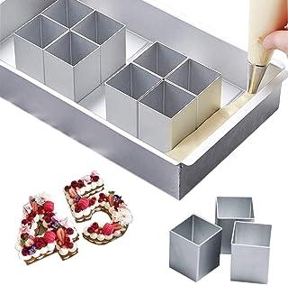 Boîtes à gâteaux en aluminium numérotées, moule à gâteau réglable rectangulaire, lettres intéressantes antiadhésives chiff...