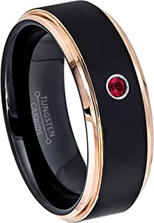 0.07ct Ruby Tungsten Ring - July Birthstone Ring - 8MM Comfort Fit Matte 2-Tone Black & Rose Gold Stepped Edge Tungsten Carbide Wedding Band -9.5