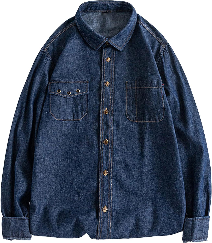 PEHMEA Gifts Men's Classic Long Sleeve Washed Down Denim Minneapolis Mall Shirt Button