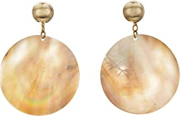 Kenneth Jay Lane - Round Wavy Shell Disc Pierced Earrings