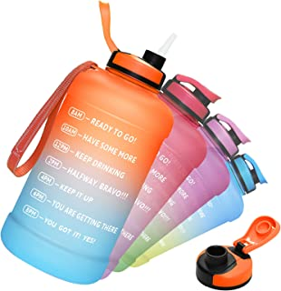 PASER Half Gallon/64oz Water Bottle with Straw & Time Marker, Wide Mouth Leakproof BPA Free Sports Motivational Water Jug ...