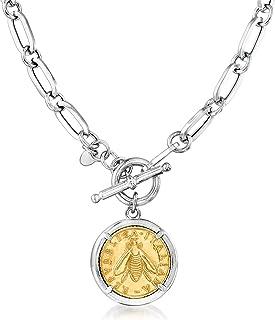 Italian Replica Bee Lira Coin Necklace in Sterling Silver...
