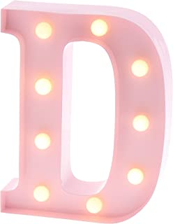 "Barnyard Designs Metal Marquee Letter D Light Up Wall Initial Nursery Letter, Home and Event Decoration 9"" (Baby Pink)"