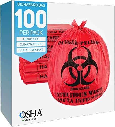 popular Biohazard Waste Bags 10-Gallon 24x24 Red Hazardous Trash Can Liners – Medical Grade No Leak Bags - Biohazard Symbol for Safe Infectious Waste Disposal. Great wholesale for Lab Containers, Swabs, outlet sale Pads, Gloves (100 pack) outlet online sale