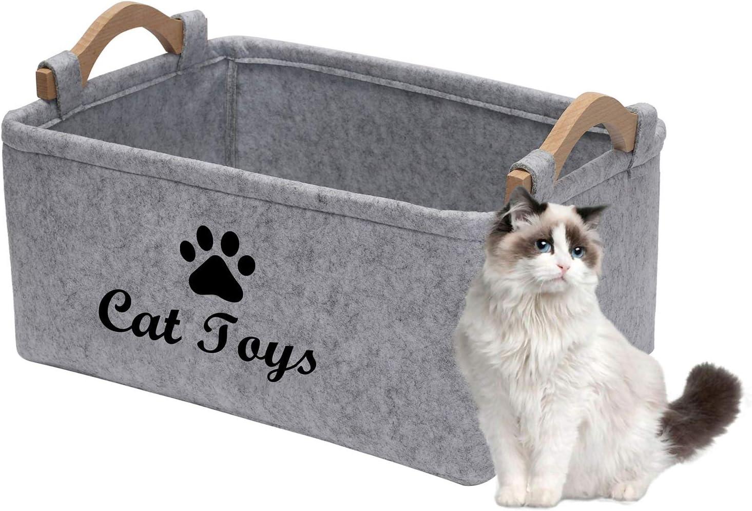 Geyecete - Cestas de Almacenamiento para Juguetes de Gato con Mango de Madera, Fieltro Caja de Almacenaje para Juguetes para Gatos e Accesorios para mascota-38x25x24cm-Gris Claro(Big)