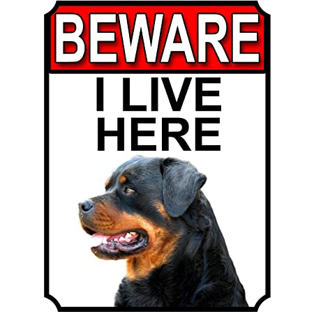 Rottweiler Beware of the Dog  Design Metal Door Gate Sign I Live Here Sign