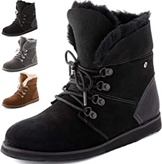 Winter Boots for Women, Waterproof Sheepskin Shoes, High Density EVA Sole (Flexible), Natural Sheep Wool, Leather Booties