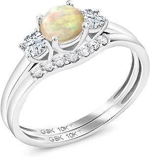 Gem Stone King 0.63 Ct Ethiopian Opal White Created Sapphire 10K White Gold Lab Grown Diamond 3-Stone Bridal Wedding Ring Set