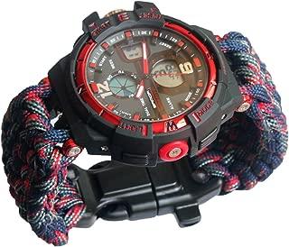 Survival 550 Paracord Whistles Sport Swimming Wrist LED Alarm Watch Tactical Bracelet Compass