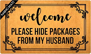 AMING mats Kitchen Mats Welcome Please Hide Packages from My Husband Doormat Funny Quotes Rugs Colorful Top with Anti-Slip Rubber Back Doormat Gift Doormat for The Entrance Way 29.5