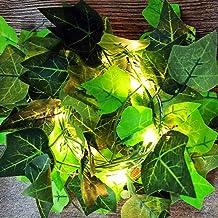 DEDC 6.6 Ft 20 LED String Lights Kunstmatige Klimop Nep Garland Groen Blad Planten Wijnstok Batterij Operate Fairy String ...