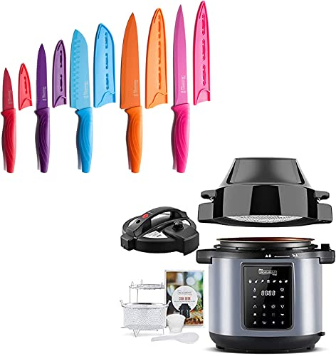 2021 MICHELANGELO Kitchen Knife discount Set 10 Piece, High Carbon Stainless Steel online sale Kitchen Knives Set,6.5 QT Pressure Cooker Air Fryer Combo, All-in-1 Pressure Fryer with Two Detachable Lids online sale