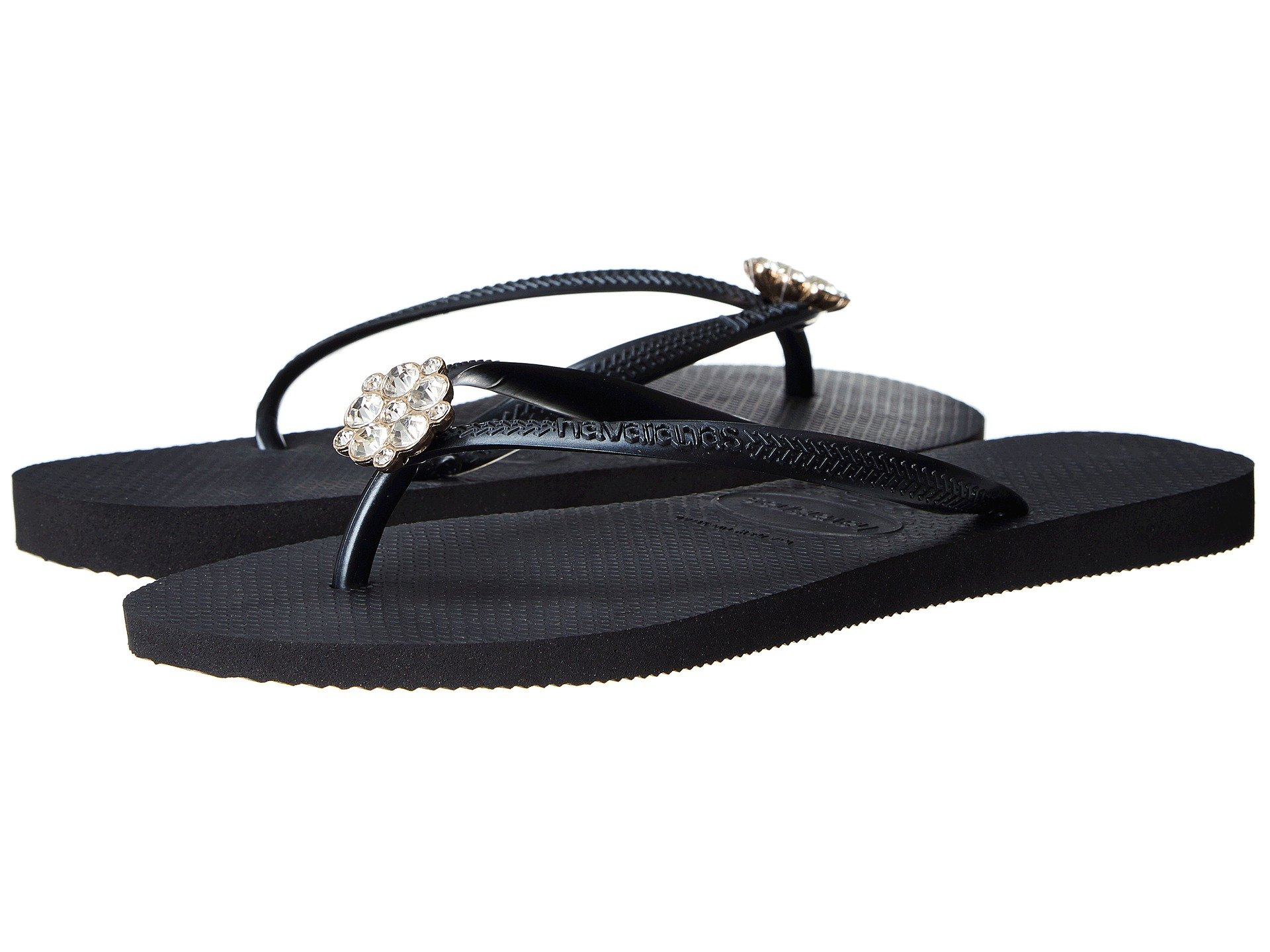 3f47caf07a7ece Havaianas Slim Crystal Poem Flip Flops In Black Dark Grey