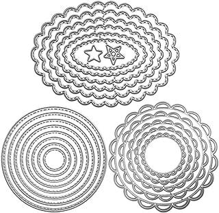 FineGood Lot de 3matrices de découpe en métal pour gaufrage et loisirs créatifs en forme de fleur/cercle/ovale