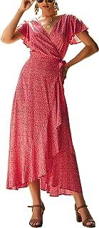 PRETTYGARDEN Women's Summer V Neck Wrap Vintage Floral Print Short Sleeve Split Belted Flowy Boho Beach Long Dress