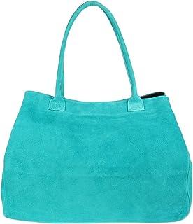 Girly Handbags Erweiterbare italienische Veloursleder-Umhängetasche