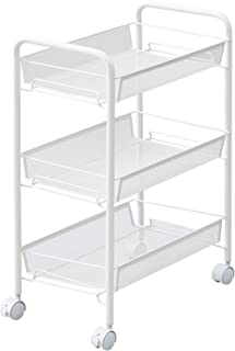 JANE EYRE 3-Tier Rolling Cart, Storage Cart Metal Utility Cart for Bathroom, Kitchen, Office, Storage on Wheels, File Cart, Storage Rack - White