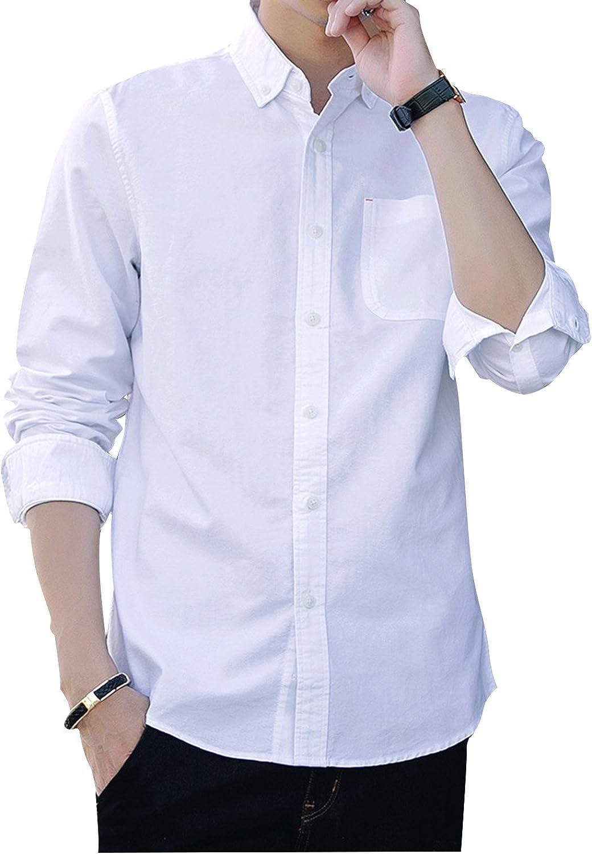 Yeokou Men's Casual Slim Long Sleeve Button Down Lapel Collar Collar Collar Solid color Shirt 85934a