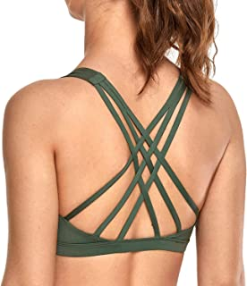 CRZ YOGA Women's Light Support Strappy Cross Back Yoga Sports Bra with Removable Pads