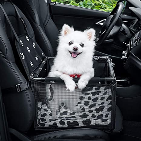 GENORTH Dog Car Seat Pet Seats for Cars Vehicles Upgrade Deluxe Washable Portable Pet Car Booster Seat with Clip-On Safety Leash and Blanket,Perfect for Small and Medium Pets: image