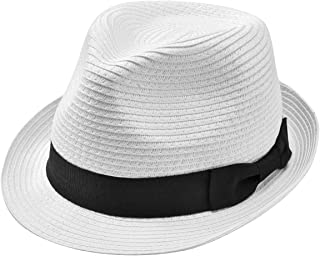 Straw Panama Hat Short Brim Trilby Fedora Hat Summer Beach Sun Hats Women Men