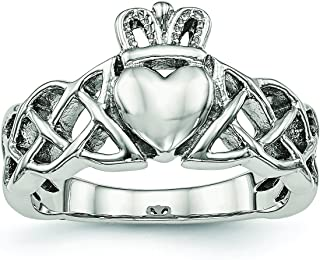 Diamond2Deal - Anello Claddagh in Acciaio Inox Lucido
