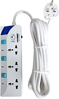 Extension Cord, STARGOLD Overload Protector Electric Socket Charging Lead 3 AC Output 13A 5M Long Power Cable, Heavy Duty ...
