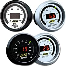AEM 30-4406 Turbo Boost + 30-4401 Oil or Fuel Pressure Digital Gauge Kit Set