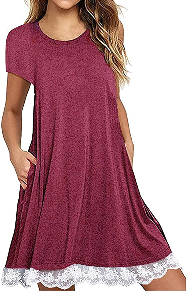 Dresses for Women Plus Size,Women's Short Sleeve Lace Tunic Dress Casual Summer Swing Dress T Shirt Dress with Pockets