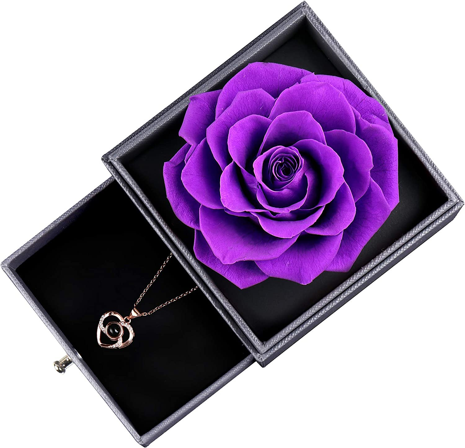 Black Handmade Fresh Rose Gift for Her on Birthday,Christmas,Mothers Day,Valentines Day Eternal Rose Gift Box with Rose Necklace Real Preserved Rose
