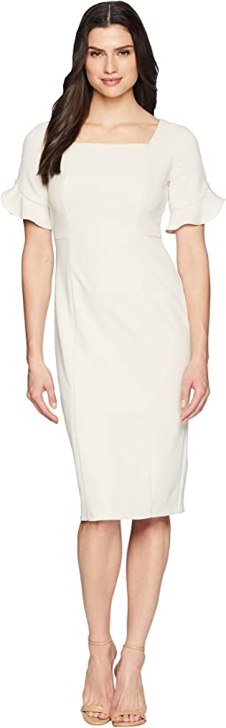 Donna Morgan Midi Length Crepe Dress with Flutter Sleeve