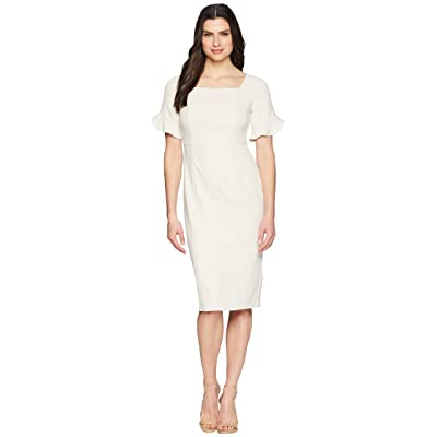 Donna Morgan Midi Length Crepe Dress with Flutter Sleeve (Horn) Women