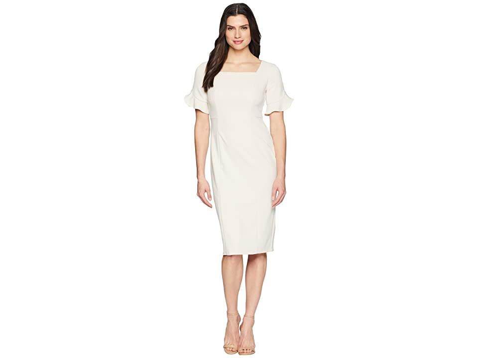 Donna Morgan Midi Length Crepe Dress with Flutter Sleeve (Horn) Women