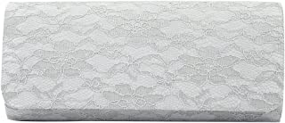 Elegant Lace Floral Fabric Flap Clutch Evening Bag Silver Grey