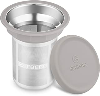 Gifbera Stainless Steel Tea Infuser Extra Fine Mesh Strainer with Large Capacity & Perfect Size Double Handles - Fits Standard Cups Mugs Teapots (Silicone-Rimmed)