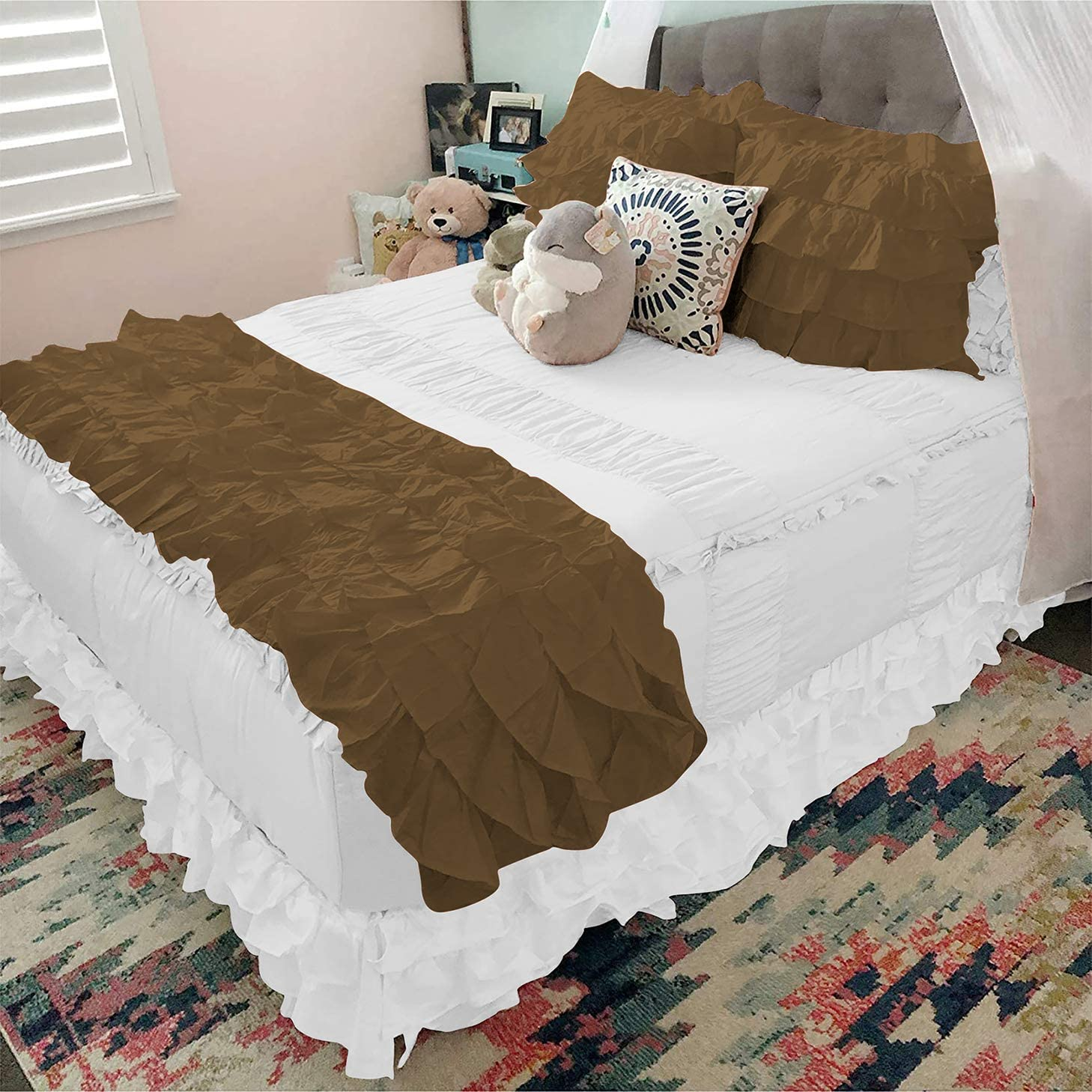 gk bedding 800 Thread Count Ruffle Bed with Pi Detroit Mall 4 5 Runner Pieces Phoenix Mall