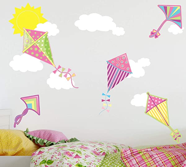 Create A Mural Preschool Wall Decor Girls Pink Kite Wall Decal W Happy Sun And Clouds Wall Sticker Decor Nursery Peel And Stick Removable Vinyl Kids Room Decal Decoration