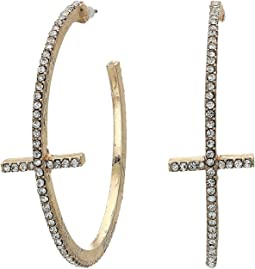 Rhinestone Cross Station Open Hoop Post Earrings