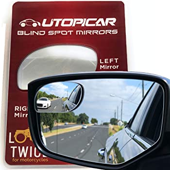Blind Spot Mirrors. Unique design Car Door mirrors / Mirror for blind side engineered by Utopicar for larger image and traffic safety. Awesome rear view! [frameless design] (2 pack)