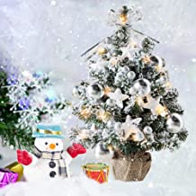 shine4FUN 20in Mini Snow Christmas Tree Artificial Table Mini Snow Christmas Tree with Battery Operated 8 Modes LED String Lights Decorative Mini Snow Tree for Home Office Holidays