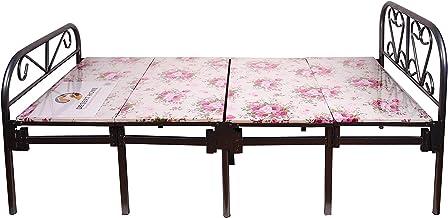 سرير قابل للطي مع فرشة، ابيض 2 × 1 متر