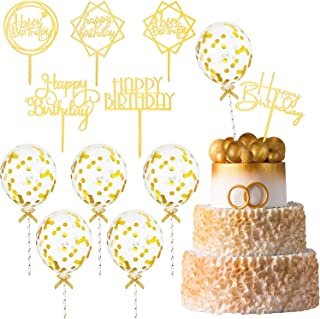 12 Piece Gold Birthday Cake Topper Set Includes 6 Piece Confetti Balloon Cake Topper and 6 Piece Acrylic Happy Birthday Cake Topper Birthday Cake Decoration Supplies