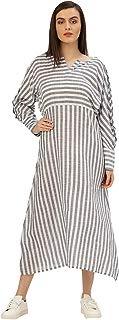 Jaipur Kurti Women A-Line Self Print Handloom Kimono Style Dress (Blue & White)