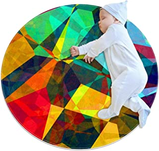 Abstrakt polygon, barn rund matta polyester överkast matta mjuk pedagogisk tvättbar matta barnkammare tipi tält lekmatta