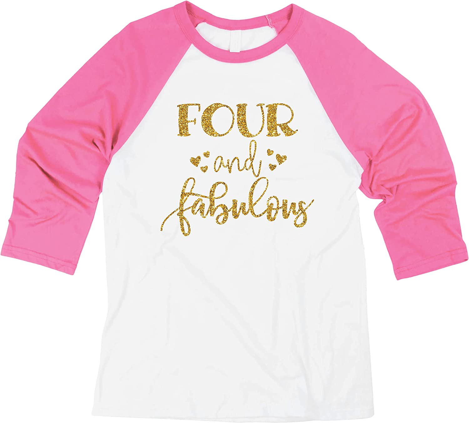 Girl Fourth Birthday Outfit Fourth Birthday Shirt Four and Fabulous
