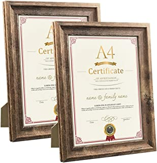 A4 Document Picture Frames Set of 2 Rustic Brown Wood Diploma Certificate Award Photo Frame for Tabletop Stand or Wall Hanging