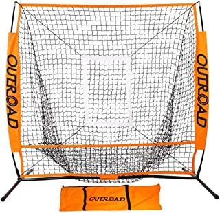 Outroad Portable 5x5 & 7x7 Baseball Nets for Pitching with Bow Frame and Strike Zone Target, Ball Caddy Holder, Orange