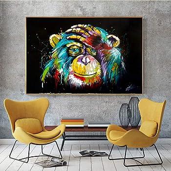 Pas de Cadre no brand Toile Peinture Color/é Singe Gorille Animal Graffit Oeuvre Abstraite Art Mural pour Salon///20x30 cm 7.8x11.8