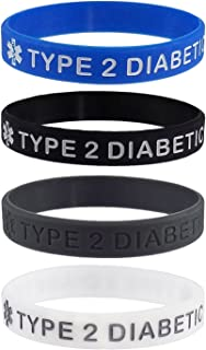 Max Petals Type 2 Diabetic Medical Alert ID Silicone Bracelet Wristbands 4 Pack